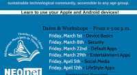 The C.M. Shields Centennial Branch is hosting 6-week TechSocial with NeoNET.  This is a great way to learn some hands-on skills with your Apple or Android device.  Sessions will be […]
