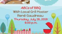 ABCs of BBQ with Grill Master René Gaudreau presented on Thursday, July 18, 2019 at 6:00 pm. Local Grill Master René will be presenting tips on meat preparation, rubs, cooking […]