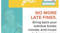 We're now fine free!  No more late fines. Bring back your overdue books, movies, and music to borrow more.  Enjoy!  See Press release for more details.