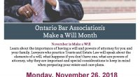 Ontario Bar Association's- Make a Will Month November is Make a Will Month. Learn about the importance of having a will and powers of attorney for you and your family. […]