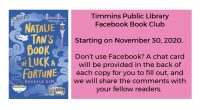 The Timmins Public Library presents the December Read of the OLS-N Adult Book Club series! The Book Club is starting on November 30, 2020. Registrations are welcome at any time […]