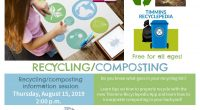 Recycling/composting information session Thursday, August 15, 2019 2:00 p.m. Do you know what goes into your recycling bin?  Learn tips on how to properly recycle with the new TimminsRecyclepedia […]